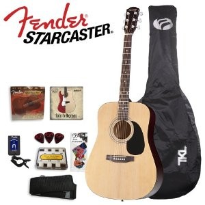 Fender Starcaster Acoustic Guitar Starter Pack, Natural
